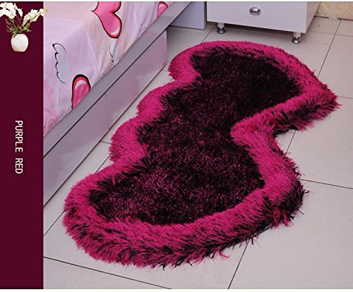 WYMBS Continental children's room carpet floor mat bedroom elastic thread lovely heart-shaped bed bed mattress pads in the forefoot love their heart-shaped carpet - Multi-colored Optional 80160cm by BXM*Gift