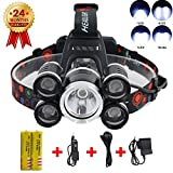 Headlamp, Best Super Bright 12000 Lumen Head Lamp, 5 LED Work Headlight 4 Modes Rechargeable Waterproof Headlamp Flashlight for Running Camping Fishing Outdoor Work (Includes18650 Batteries) (1 Pack Silver)