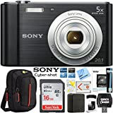 Sony Cyber-shot DSC-W800 Digital Camera 20.1MP Bundle With SanDisk Ultra 16GB Memory Card Case LCD Screen Protectors and Cleaning Kit