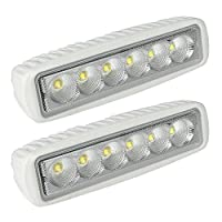 LTC White Spreader LED Deck/Marine Lights (Set of 2) for Boat (Flood Light) 12V 18W
