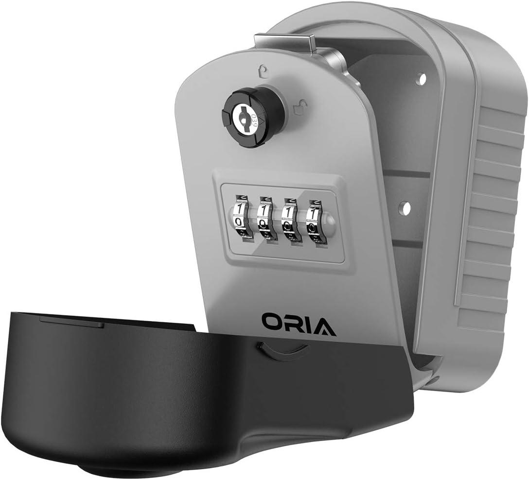 Color : Grey Caja de 4 d/ígitos con combinaci/ón de Cerradura de Llave Caja de Almacenamiento de Caja Segura para Llaves de Montaje en la Pared