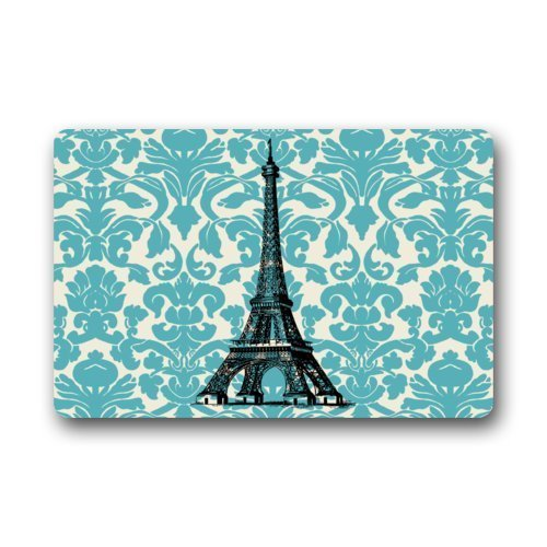 Rdsfhsp Teal Turquoise Damask Vintage French Floral Swirls with Paris Eiffel Towers Indoor/Outdoor Doormat Non-Slip Durable Cushion Pet Love Rug Appropriate Size: 23.6x15.7 Inch (Rug Swirl Velvet)