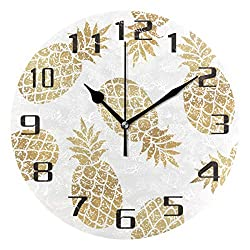 KUWT Tropical Pineapple Pattern Wall Clock Silent Non-Ticking 9.5 Inch Round Clock Acrylic Art Painting Home Office School Decor