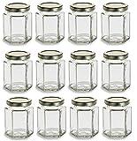 Nakpunar 12 Pcs , 6 Oz Large Hexagon Glass Jars with Gold Lids for Jam, Honey, Wedding Favors, Shower Favors, Baby Foods, DIY Magnetic Spice Jars