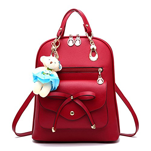 Rose à à avec Vin PU Bandoulière à Dos Casual Ours Femme Loisir Sac Mini en Cuir Sac dos sac Rouge Sacs wqP00fxU