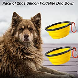 Pack of 2pcs Collapsible Dog Bowl, Eco-friendly Silicone Foldable Expandable Cup Dish for Pet Cat Food Water Feeding Portable Travel Bowl Free Carabiner (Yellow)