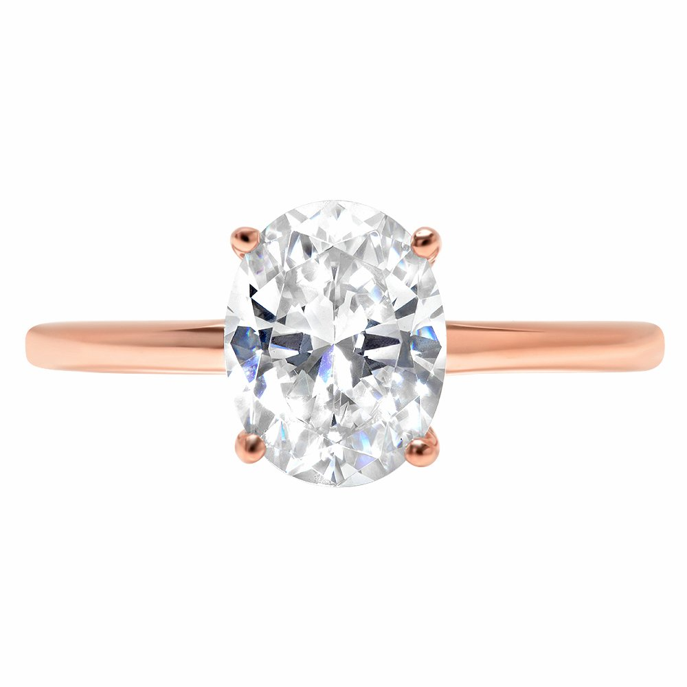 2.5ct Oval Brilliant Cut Classic Solitaire Designer Wedding Bridal Statement Anniversary Engagement Promise Ring Solid 14k Rose Gold, 8.75