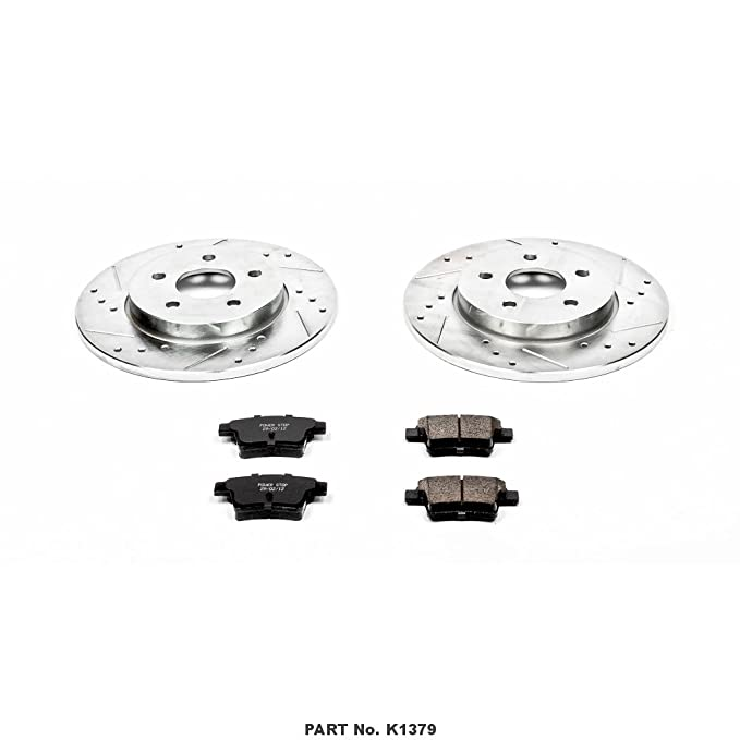 Power Stop K3145 Rear Z23 Evolution Brake Kit with Drilled//Slotted Rotors and Ceramic Brake Pads