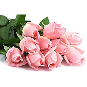 FiveSeasonStuff 10 Stems of Real Touch Silk Roses 'Petals Feel and Look like Fresh Roses' Artificial Flower Bouquet for Wedding Bridal Office Party Home Decor (Dark Pink) 4
