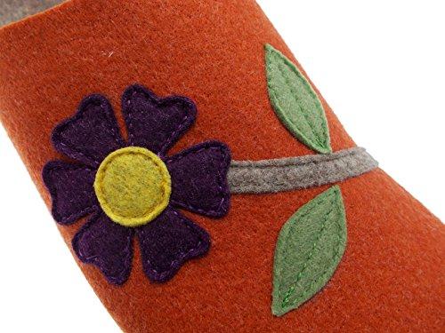 Pantoufle Orange Art Drap Fleurs 19601 Riposella Laine n60wqpxn7