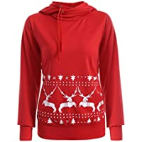 Women Hoody Sweatshirt Funnel Neck, Keepfit Drawstring Reindeer Pullover Outwear