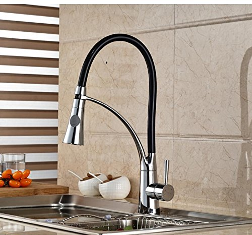 LH@ Modern Deck Mounted Brass Kitchen Faucet Vessel Sink Mixer Tap Single Handle Chrome Finished ()
