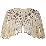 PrettyGuide Women's 1920s Shawl Beaded Sequin Deco Cape Bolero Flapper Cover up Champagne Beige