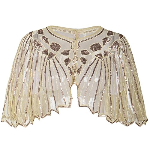 (PrettyGuide Women's 1920s Shawl Beaded Sequin Deco Cape Bolero Flapper Cover Up Champagne)