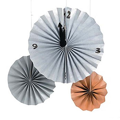 Fun Express New Year's Countdown Paper Hanging Fan Decorations (Set/3) - New Years Countdown Clock