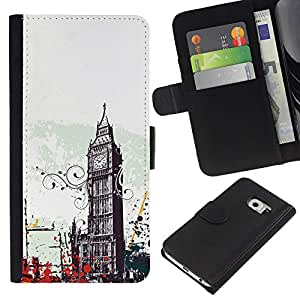 KingStore / Leather Etui en cuir / Samsung Galaxy S6 EDGE / Arte Big Ben Ciudad de Londres Inglaterra Símbolo
