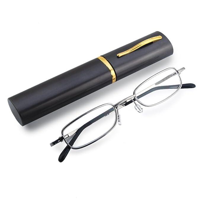 THG Metall Gestell Lesebrille Lesehilfe in verschiedenen Sehstärken Brille + 3,00 Dioptrien mit Brillenhülle