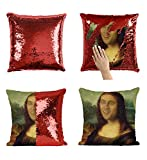 Mona Lisa Nicolas Cage P116 Sequin Pillow, Sequin Pillowcase, Funny Pillow, Two color pillow, Present Pillow, Gift for her, Gift for him, Magic Pillow, Mermaid Pillow [With Insert]