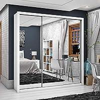 Guarda Roupa Casal 3 Portas com Espelho Clarice Premium Siena Móveis Branco