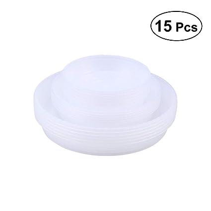 BESTOMZ 15 unids Base Plástico y Transparente de Maceta Bandeja de Goteo de Planta Herramienta de