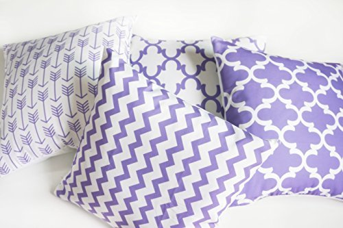 howarmer cotton canvas purple decorative throw pillow cover for couch set of 4 accent pattern 18 x 18inch