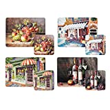 FRENCH SHOP FRONT FRUIT WINE SET OF 4 PLACEMATS AND COASTERS CORK BACKED