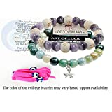 """Zorbitz Inc – Bundle of 2 Karma Beads Bracelets Believed to Deliver Unexpected Miracles and Good Health. Included 36"""" Evil Eye Wrap Wards Off Evil"""