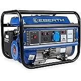 EBERTH 1000 Watt Benzin Stromerzeuger (3 PS Benzinmotor, 4-Takt, luftgekühlt, Ölmangelsicherung, Seilzugstart, 1-Phase, 1 x 230V, 1 x 12V, Voltmeter)