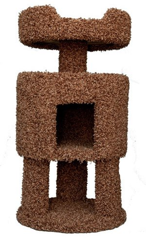 Wood Carpeted Kitty Condo with Perch Cat Condo, Brown Carpet, My Pet Supplies