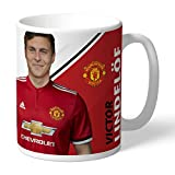 Manchester United Official Personalized FC Lindelof Autograph Mug - FREE PERSONALISATION