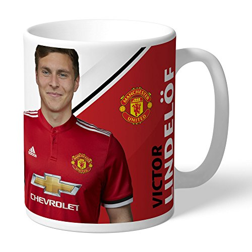 Manchester United Official Personalized FC Lindelof Autograph Mug - FREE PERSONALISATION by Manchester United