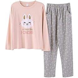QIANDONG1 Los Pantalones de Manga Larga de Las señoras del Pijama del algodón del otoño Pueden Usar Ropa Exterior se adaptan a los Gatos de la Moda, S