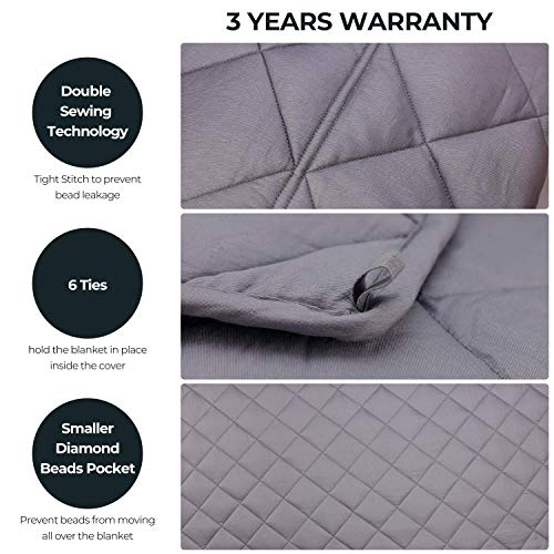 MOOKA Weighted Blanket 20 lbs for Adult, Skin-friendly 100% Breathable Cotton Adults Weighted Blanket Queen Size 160-280 lbs, 60x80 Heavy Blanket with Premium Glass Beads for Stress & Anxiety Relief