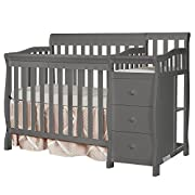 Dream On Me Jayden 4-in-1 Mini Convertible Crib And Changer, Storm Grey