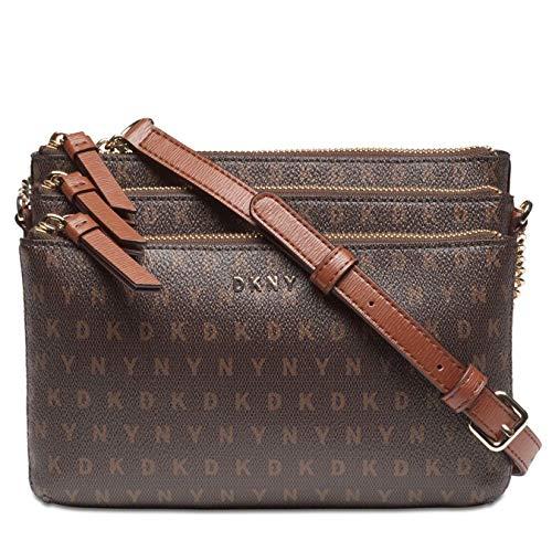 DKNY Bryant Signature Triple Zip Crossbody Bag Brown Logo - Walnut Gold