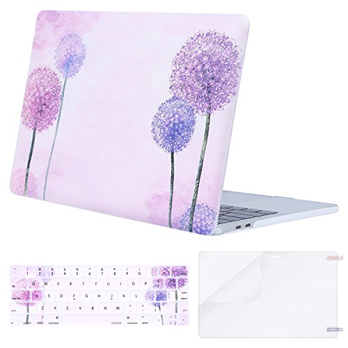 MOSISO MacBook Pro 13 Case 2018 2017 2016 Release A1989/A1706/A1708 w/ & w/o Touch Bar,Plastic Pattern Hard Case & Keyboard Cover & Screen Protector Compatible Newest Mac Pro 13 in,Purple Dandelion