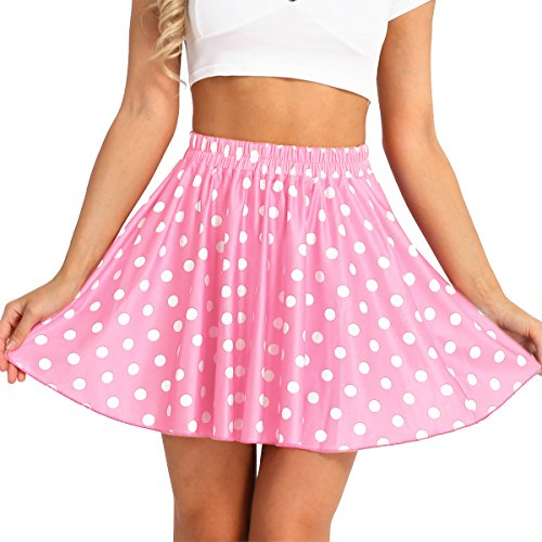 ACSUSS Women's Stretchy Party Costume Candy Colors Polka Dot Flared Casual Skirt Pink One Size ()