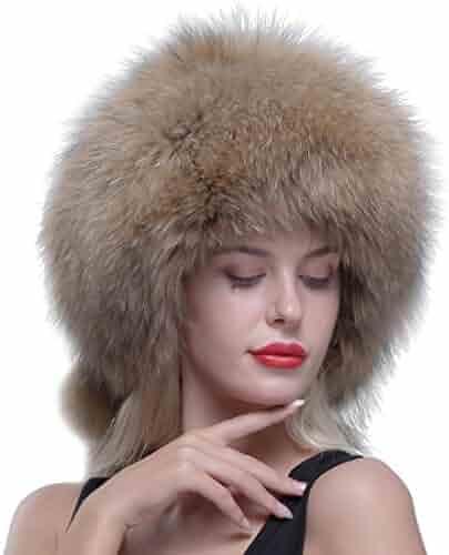 0900c084bdf69 URSFUR Genuine Raccoon Fur Russian Ushanka Trapper Hat Cap with Fur Ball  Pompom