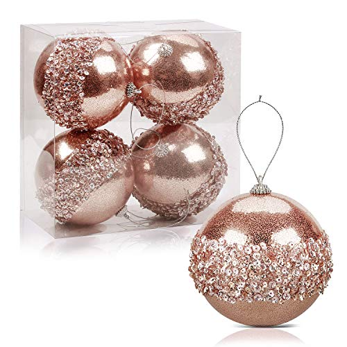 ZHYI Christmas Ball Ornaments, 4pc Set Rose GoldShatterproof Christmas Decorations Tree Balls for Holiday Wedding Party Decoration Tree Oranments Hooks Included Holiday Decorations (Wreath Gold Rose)