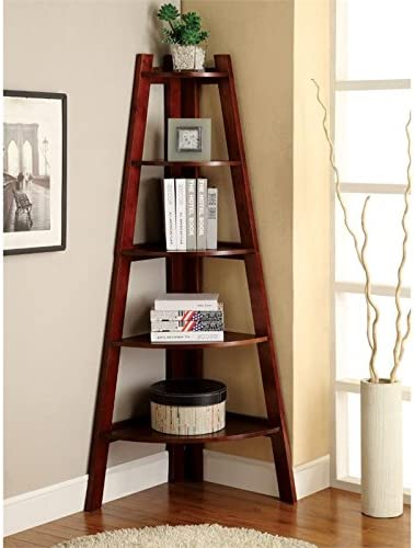 Bowery Hill 5 Shelf Corner Bookcase in Cherry