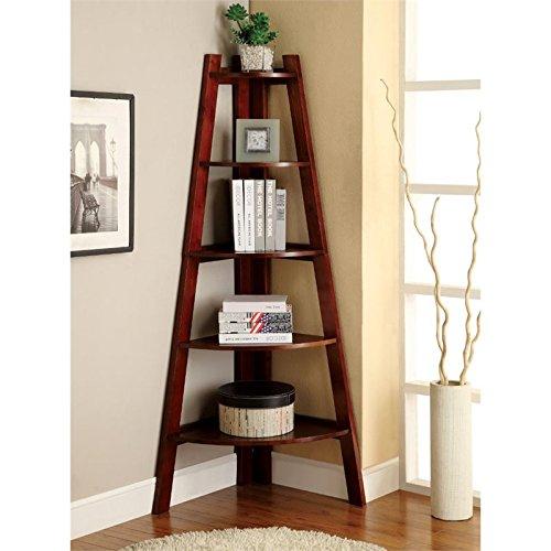 Bowery Hill 5 Shelf Corner Bookcase in Cherry