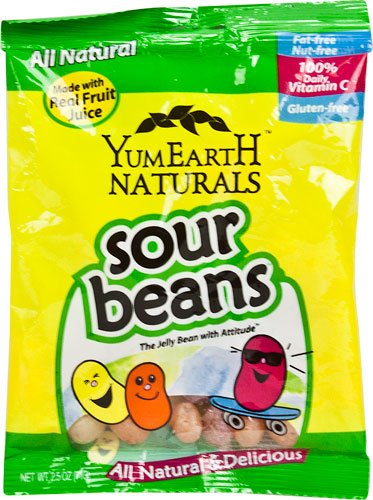 Yummy Earth Naturals Sour Beans Gluten Free -- 2.5 oz Each / Pack of 6