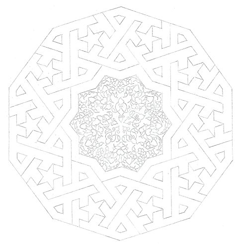 Coloring Page of Original Geometry pattern and Illumination - Arabesque - Islamic Art- Home/Office decor - Adult Coloring - DIY by New York Fresh Art