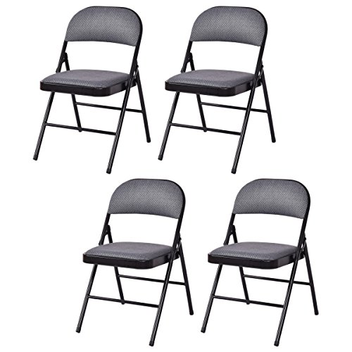 Giantex Set of 4 Folding Chairs Fabric Upholstered Padded Seat Metal Frame Home Office (Fabric Metal Folding Chair)