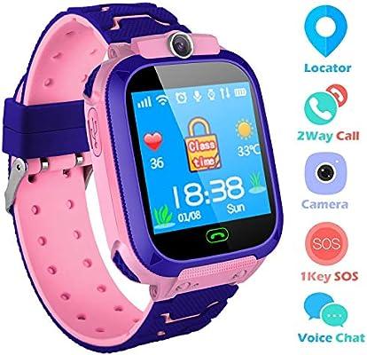 Reloj Niños Smartwatch LBS/GPS Pantalla Táctil Kids Safe Anti-pérdida SOS para Android e iOS Smartphone (Pink-S9)
