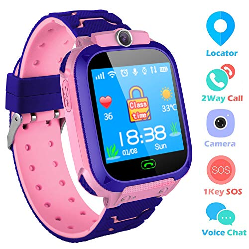 Kids Smartwatch,THEMOEMOE GPS Kids Tracker Samrt Watch with Camera Calls SOS Smart Watch for Kids Girls Boys(Pink) (Track The Present Location Of Mobile No)