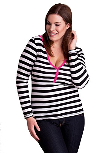 Black White Ladies Plus Size Horizontal Striped Ribbed 4 Button Henley Shirt