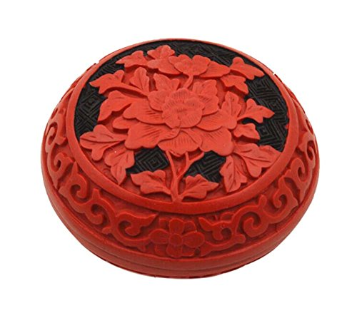 PANDA SUPERSTORE 2 Pieces Chinese Style Black River Flower Pattern Carved Lacquer Jewelry Box (Lacquer Black Armoire)