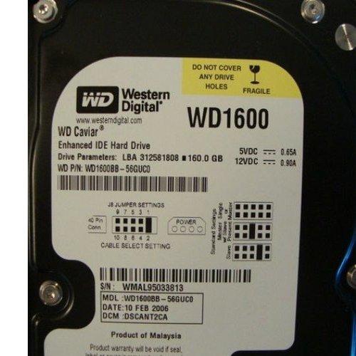 (WESTERN DIGITAL WD1600 CAVIAR 160 GB,INTERNAL,7200 RPM,3.5INCH (WD1600BB-22GUA0) HARD DRIVE)