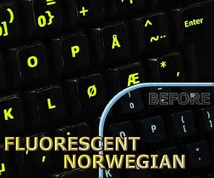 Brillante Fluorescente noruego lables para teclado